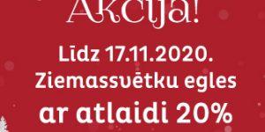 Egļu serviss akcijas banneris par 20% atlaidi līdz 17.11.2020.